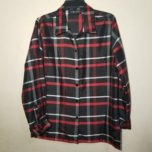 Sag Harbor Womans Plaid Shirt Blouse XL